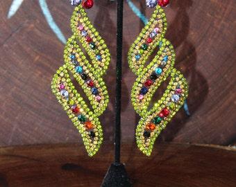 multi color statement earrings, green multi color rhinestone earrings, extra large rhinestone earrings, pageant long earrings, prom earrings