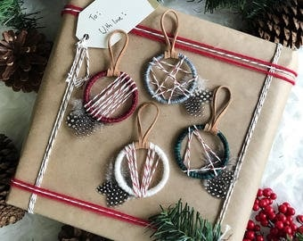 Dreamcatcher Christmas Ornaments, Holiday Party Favors, Ornament Exchange, Boho Holiday Decor, Bohemian Christmas Tree, Ornament Gift Topper