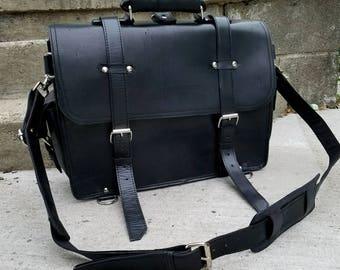 "Customized Mens Messenger/Briefcase/Backpack // 16"" Leather Messenger Bag/Satchel // Convertible Bag // Black Leather // Rugged/Distressed"