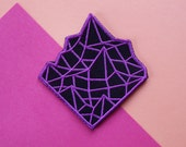 Synthwave Mountain Embroidered Patch Sew On Black Purple Neon Outrun Inspired