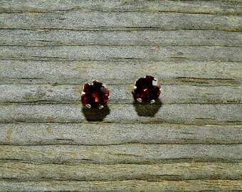 Spessartite Garnet 1.94 TCW 6 MM Round Cut Sterling Silver Stud Earrings
