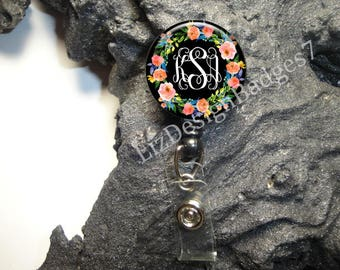 Floral Retractable Badge Holder,Personalized Badge Reel,Monogram Badge Holder,Monogram Badge Reel,Monogram Stethoscope ID Tag, Style-542