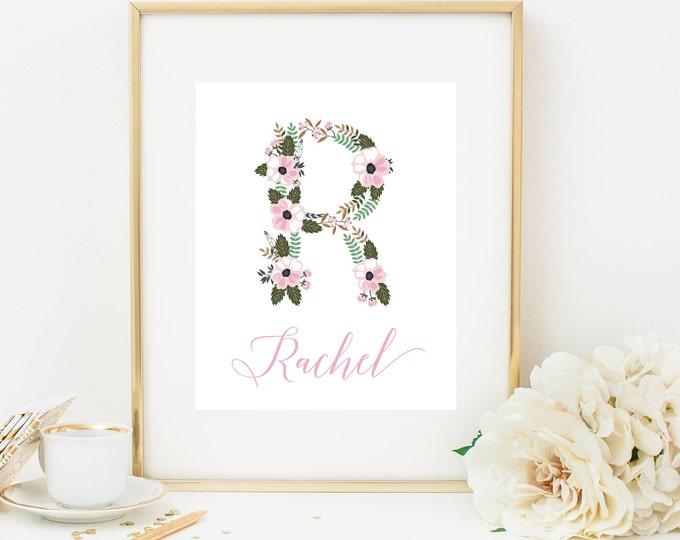 Monogram Nursery Print, Girl Nursery Decor, Printable Wall Art, Baby Name Art, Pink Floral Monogram Art, Printable Nursery