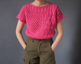 Pink vintage crochet t-shirt top