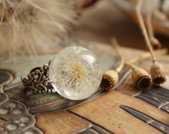 Dandelion ring Dandelion jewelry Gifts for her Ladies ring Wish Nature ring Fairytale ring Real dandelion Eco materials Oxide of silver ring