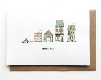 Miss You Card | Farewell Card, Goodbye, Moving Away, Graduation, New Job, Bon voyage, All the best