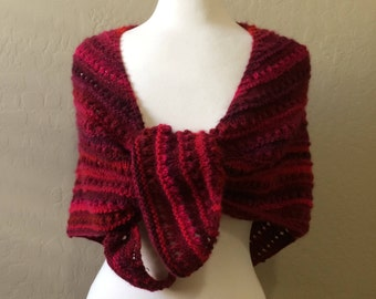 Women's Hand Knitted Shawl, Hand Knitted Shawl, Red Handmade Wrap