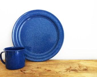 Vintage Enamel Plate And Mug Blue Enamelware Camping