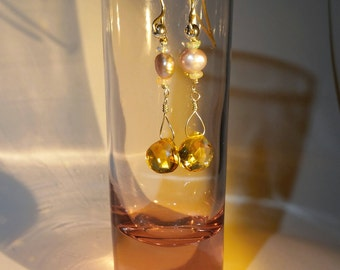 Citrine Freshwater Pearl Earrings,Ethiopian Welo Opals,large Citrine Briolettes,Pink Baroque Pearlss