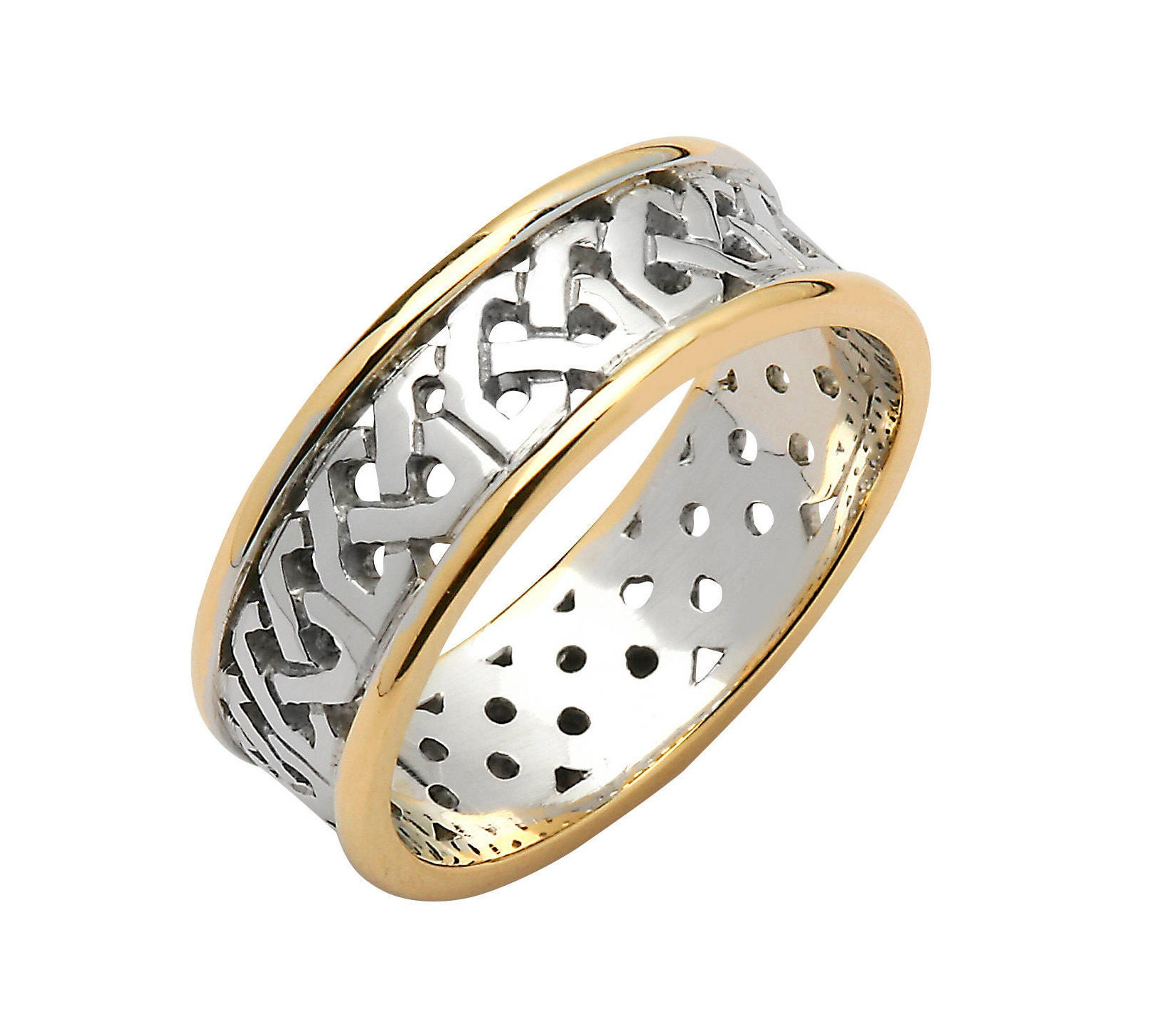 Sheelin Celtic Wedding Band Silver 10k Yellow Gold