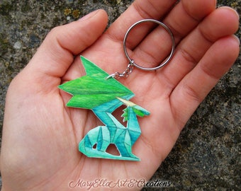 Crystal Dragon - Spyro the dragon wood keychain