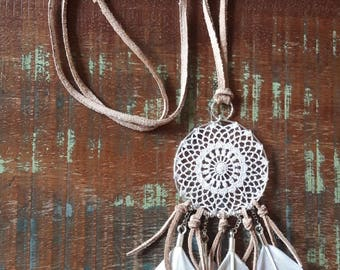 Dream catcher necklace sterling silver