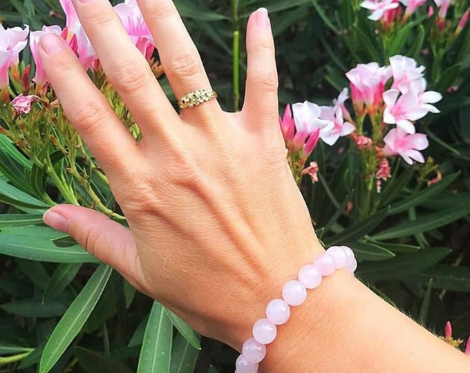 Pink Rose Quartz Bead Bracelet, Heart Chakra Gemstone Jewelry, Healing Crystal, Stretch Bracelet, Natural Stone, Boho Style, Gifts for Her