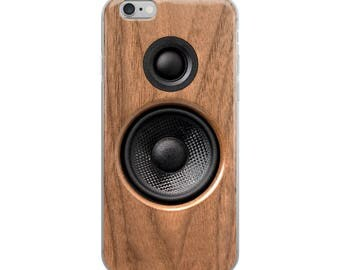 iPhone Case for music lover gift, audiophile gift, music listener, with faux wood finish