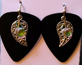guitar pick earrings on silver charms with sparkling dichroic glass bead
