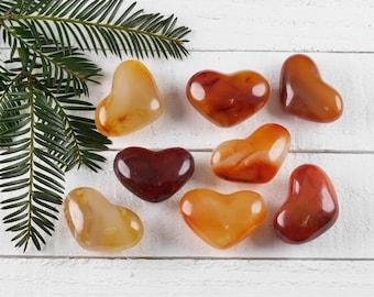 One Small CARNELIAN Heart Shaped Stone - Carnelian Crystal Healing Stone, Heart Rock, Chakra Crystal, Heart Stone, Heart Chakra Stone E0465