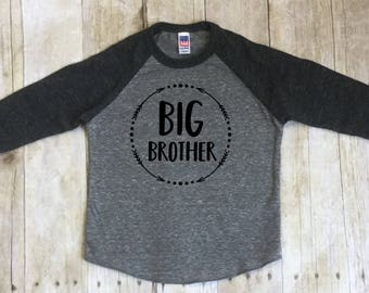 Big Brother Shirt-Big Brother Youth Size Shirt-New Brother Shirt-Pregnancy Reveal Shirt-Sibling Shirt-Raglan Shirt-Little Brother Shirt