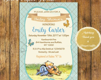 Digital file or Printed-Classic Winnie The Pooh Baby Shower Invitation-Piglet-Eeyore-Disney Classic Winnie the Pooh-Customize-Free Shipping