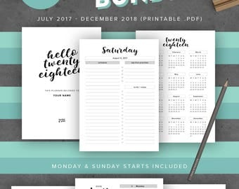 """2017-2018 Printable Planner Agenda, A4 Size Inserts: Fits Filofax A4, 210mm x 297mm / 8.27"""" x 11.69"""", Day Organizer, Back to School"""