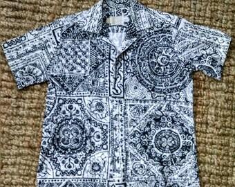 Bark Cloth Aztec Print Haiwaiian Shirt