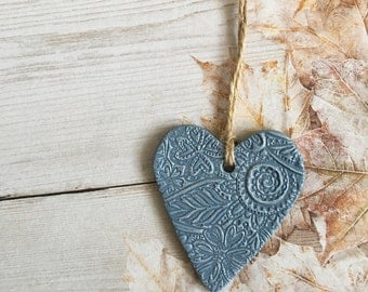 Blue Hanging Heart - heart wall hanging, handmade heart, heart decoration, ceramic heart, heart accent, wedding decor, colourful heart