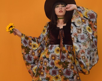 Sunflowers dress. 60s, 70s style dress with angel bell sleeves.