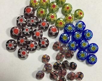 Millefiore circular beads [10 beads] (Mixed - 23 beads)