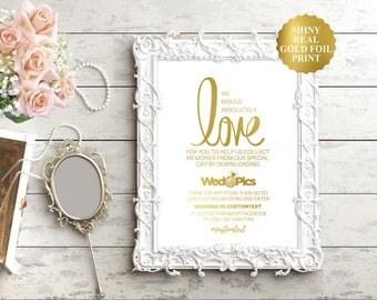 Wedpics sign / Wedpics app sign / Wedding Hashtag Sign / Gold Foil Wedding Signs / Wedding Ceremony / Wedding Reception Signs in Gold Foil