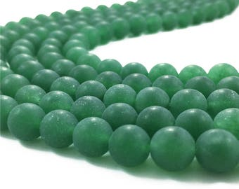 10mm Matte Green Jade Beads, Round Gemstone Beads, Wholasela Beads