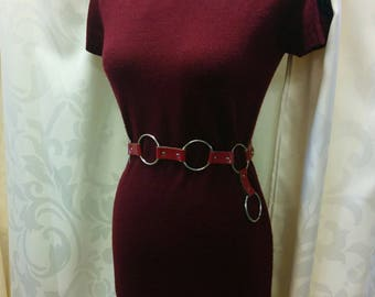 Vintage 70s Belt Ring Chain, gogo dancer 1970s