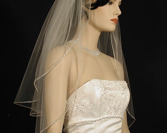 "25""/30"" Two-Tier Sparkling Wedding Veil"