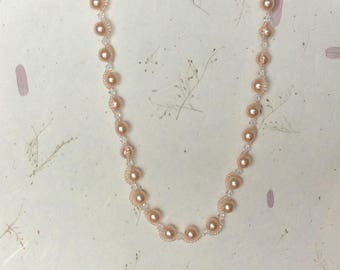 Pretty in Pink Pearls Necklace, Swarovski Pearl Necklace, Beaded Necklace, Pink Necklace, Pearl Necklace