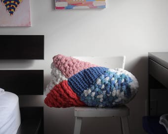 Erin - soft knitted chunky throw pillow/knit cushion - handmade, unique, original - neck pillow, back pillow, couch pillow, decorative