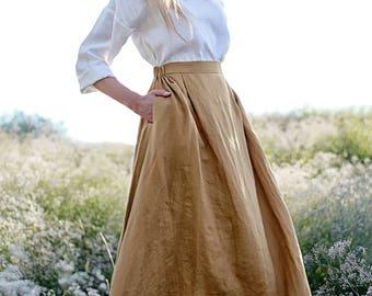 Linen Skirt,  Maxi Linen Skirt, Maxi Camel Skirt, Linen Skirt with Pockets, Linen Maxi Skirt, Ruffled back Skirt, Long Linen Skirt