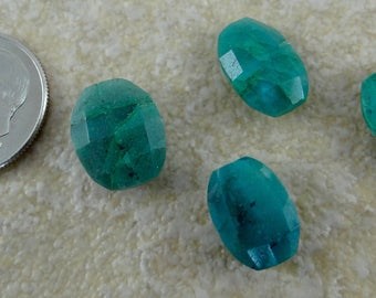 Azurite | Faceted Side Drilled Cushion Cut Oval Beads | Matched Pairs, Sets of 4