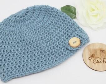Crochet Beanie, Size 18 mths, Blue, Button, Newborn Beanie, Baby Hat,