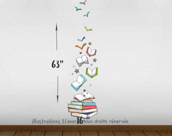 Flight of books! Rec room, corner books, library, applied decals, vinyl wall decal, wall, decoration