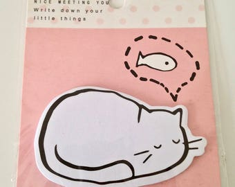 Cat kitten cute kawaii kitsch sticky notes memo pad sticky markers