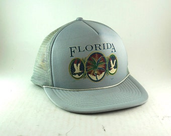Vintage Florida Silver Baseball Cap // Palm Tree and Seagull Trucker Style Snapback Hat