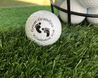 Great Grandfather/ Pregnancy Reveal/ Baby and Birth Announcement/Personalized Golf Ball Set of 3, FAST SHIPPING!!