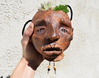 Pottery Planter, Ceramic Hanging Planter, Handmade Planter, Plant Pot, Small Planter, Shrunken Head: Phillip