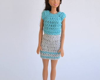 Set of clothes for Barbie, clothes doll set blue Barbie, Barbie skirt, Barbie, fashion doll, Barbie fashion, pink skirt,