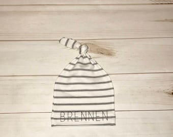 Custom name knotted baby beanie