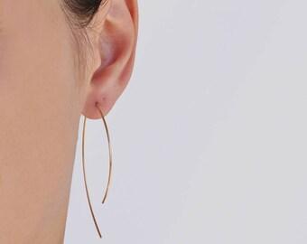 Arc Ear Threaders, Geometric Earrings, Open Hoops Threader In 14k Gold Fill, Hoop Earrings, Gold Hoop Earrings, Gold Arc Earrings