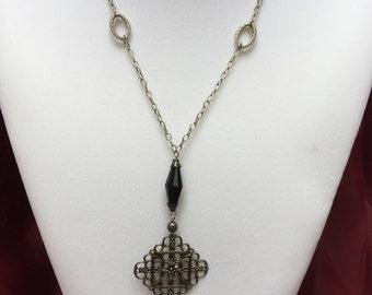 Black Beaded Tassel Necklace