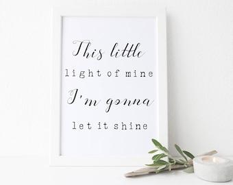This Little Light of Mine, Scripture Printable, Let it Shine, Bible Print, 8x10