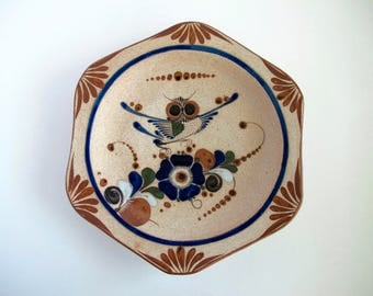 Vintage Pottery Wall Plate, Ceramic Owl Art Signed JC Mex