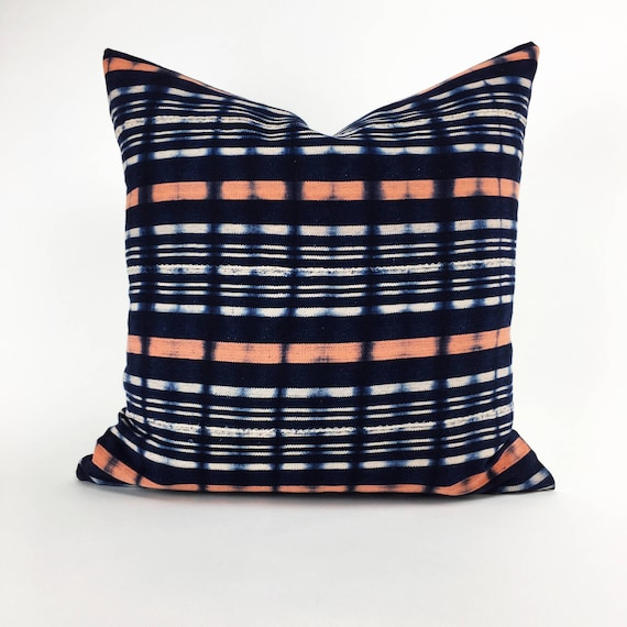 20 x 20  Indigo and Peach Tie Dye Plaid Pattern Pillow Cover