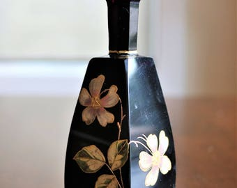 Vintage Perfume Bottle, Black Amethyst Perfume Bottle, Hand Painted Flowers, Gold Trimmed Flowers, Black Lacquer, Perfume Bottle