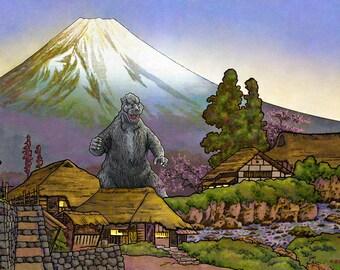 Godzilla Village Japanese Woodblock Print